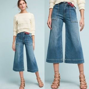 Anthropologie Pilcro Cropped Wide Leg Jeans